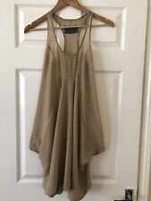 All Saints Pure Silk Coffee Brown Racer Back Loose MEA Dress Lagenlook Sz 6 VGC