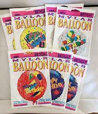 Vtg Anagram Mylar Balloons Happy Birthday 1990s Helium 4 Unique Designs Lot Of 7