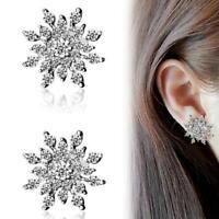 New Womens Crystal Rhinestone Snowflake Flower Stud Earring Gold/Silver Jewelry