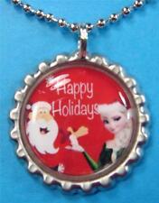 Christmas Frozen Silver Bottle Cap Necklace 2