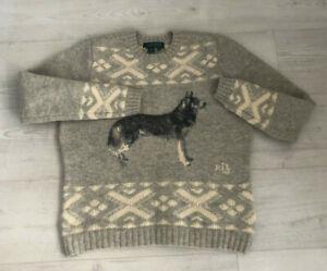 Women's Ralph Lauren LAUREN 'Wolf' Wool Sweater - Size Small - Grey