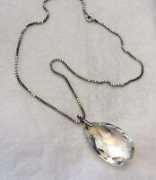 Crystal Teardrop Necklace 1980s Dropper Pendant Box Chain Vintage