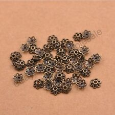 100Pcs Tibetan Silver/Gold Metal Flower Loose Spacer Beads Caps Lots 6MM D3012