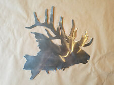 Elk head trophy wall art steel hunter display Bugle PTELKHDWALRG