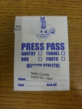 14/08/2010 BIGLIETTO: Oldham Athletic V Notts County [PRESS PASS]. bobfrankandelvis
