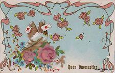 # AUGURALI 1910 -BUON ONOMASTICO! CART.CON PICCIONI CHE PORTANO LETTERE D'AUGURI