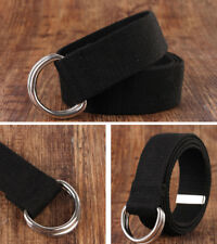 UNISEX MEN WOMEN LADIES DOUBLE D RING BUCKLE WAIST BELT CANVAS FASHION BELT