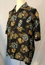 Tommy Bahama Shirt Mens Size XXL Silk Hawaiian Martinis Drinks Floral Black