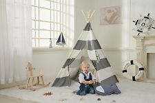 Kids Cotton Canvas Teepee Tent Playhouse w/Carrying Case-In&Outdoor- Gray Stripe