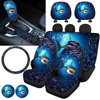 Front Reat Car Seat Cover Ocean Animals Combo Set with Steering Wheel Cover 11pc