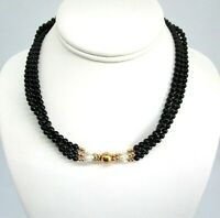 14K Yellow Gold / Onyx / Freshwater Pearl 3 Strand Necklace 29.6 grams
