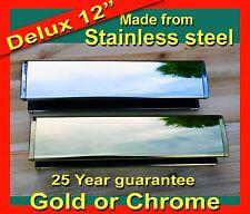 "Chrome Or Gold / Brass 12"" Inch Deluxe Letter Box for Upvc & Wooden Doors"