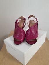 Orlando Rue - Plum and Cream Sling Back Peep Toe Stiletto Sandal - UK Size 5