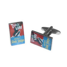 Poster Cufflinks With Gift Pouch Present Loose Lips Sink Ships Nostalgic Wartime