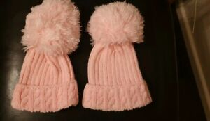 GIRLS PINK KNITTED BOBBLE HATS 6-12 MTHS NEW