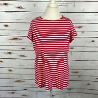 Boden Pink Striped Short Sleeve Womens Top US 16 UK 20 T-shirt Tee Cotton