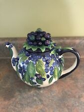 """Blueberry Teapot J McCall """"Blue Sky"""" Guc White Natural Wild Berries"""