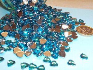 200 8mm Heart Rhinestones:Gems Jewels Craft Flat Back Silver   Red