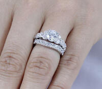 2ct round cut diamond bridal set 14k white gold ove engagement ring wedding band