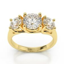 Solid 14k Yellow Gold 2.00 Ct 3 Stone Diamond Engagement Wedding Rings Size L M