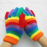 Childrens Rainbow Magic Gloves Warm Soft Stretch Fingers Wool Cosy Gripper Glove