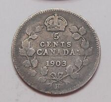 1903H Five Cents SILVER aVG TONED Early King Edward VII OLD Canada 5¢ Half Dime