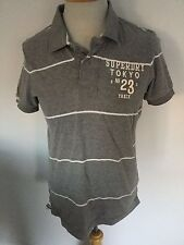 Superdry Mens Grey Striped Shirt Sleeve Polo Size M. Great Condition.