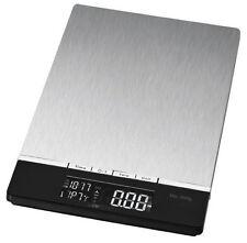 Clatronic Küchenwaage Edelstahl 5kg / 1g mit Uhr Temperaturanzeige Waage digital