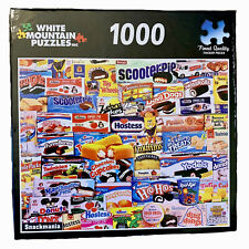White Mountain Snackmania 1000 Pc Puzzle Jigsaw Snacks Donuts Sweets Old School