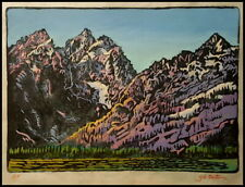 "Gayle B. Tate, ""Wyoming #6"", Color Linocut 7 X 10"", S/N  (Sandzen, E E Glass)"