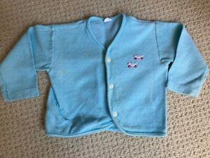 Vintage Carter's Baby Boy 18 Months Light Blue Cardigan Sweater 1970s