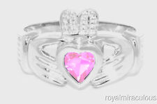 CLADDAGH RING 14K WHITE GOLD SIMULATED PINK ICE LOVE & LUCK - OCTOBER STONE