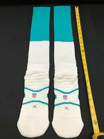 2015 MIAMI DOLPHINS TEAM ISSUED NIKE ON FIELD AQUA/WHITE NFL SOCKS ALL SIZES NEW