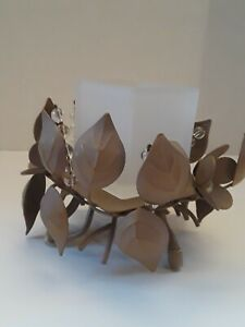 Candle Holder Flowers & Leaves Votive Holder NEW Glass & Metal
