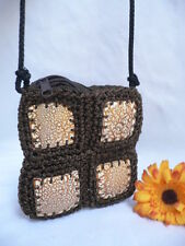 NEW WOMEN BROWN BEIGE COCONUT SHELL FABRIC HAND MADE BAG SHOULDER FABRIC STRAP