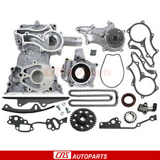 FOR TOYOTA 2.4L 22RE/R TIMING COVER CHAIN KIT(2 Heavy Duty Rails)+OIL WATER PUMP