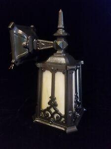 Antique Cast Iron Porch Light wall Sconce Murlin Mfg Slag Glass