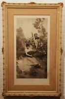 """RARE Framed XL Antique Franz Hanfstaengl Lithograph Photogravure print """"Musik"""""""