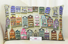 "Amsterdam Houses Cushion 22""x14"" 56cm x36cm) Rectangle Oval Inc Pad 100% Cotton"