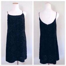 Vintage 1990s Ann Taylor Velvet Slip Dress Black Lbd Summer Evening Sm