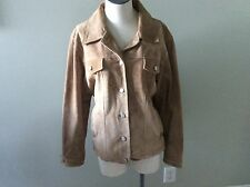 Misty Harbor Suede Coat Jacket Leather M Medium Tan Metal Button Front