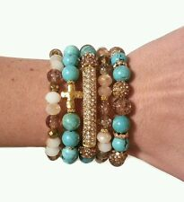 WOMAN TURQUOISE NUDE CROSS BEAD GOLD PAVE METAL BAR STRETCH BRACELETS JEWELRY
