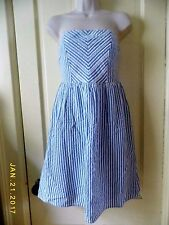 OLD NAVY BLUE & WHITE STRIPE STRAPLESS SUNDRESS WITH LINING, COTTON, NWOT