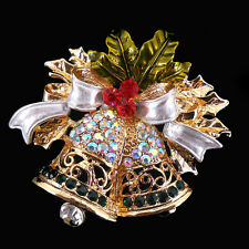 Pin Brooch Use Czech Crystal Xmas 5cm x 4cm Lovery Twinkling Christmas Bell