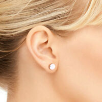 Silver Circle Stud Earrings Small Round Flat