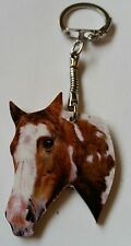Wood Piebald Horse Head keyring key ring, keychain Hand made in UK New
