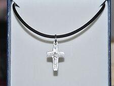 Croce Papa Francesco argento 925 con collana in caucciù nero