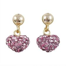 Sterling Silver Gold Plated Light Pink Crystals Hearts Kids Dangle Earrings