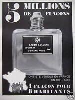 PUBLICITÉ EAU DE COLOGNE D'ORSAY 5 MILLIONS DE FLACONS VENDUS EN FRANCE EN 1931