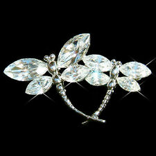 w Swarovski Crystal ~Clear DRAGONFLY~ Mother Baby Lover Family Bridal Pin Brooch